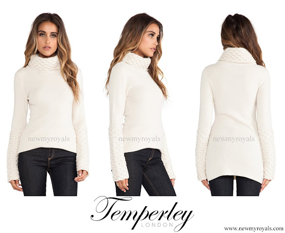 Princess Madeleine wore Alice by Temperley Honeycomb Turtleneck Tunic in Ivory