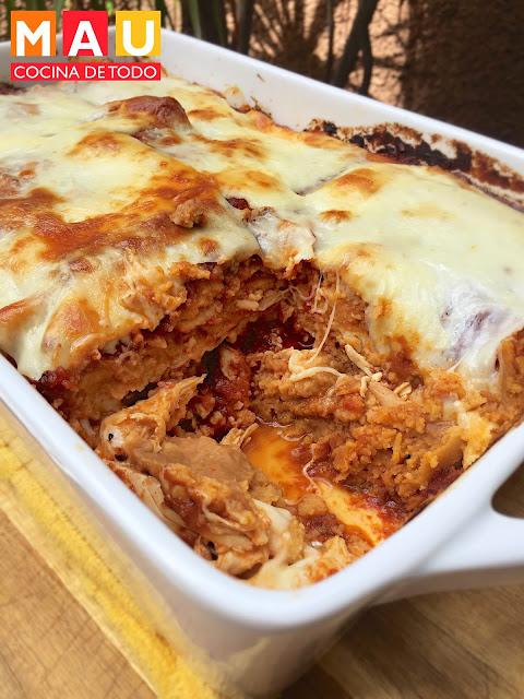 pastel azteca tamal cazuela pollo al horno recalentado tamales