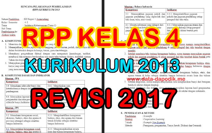 [DOWNLOAD] RPP Kelas 4 Kurikulum 2013 Revisi Tahun 2017