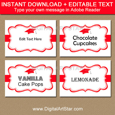 graduation candy buffet labels in red and white