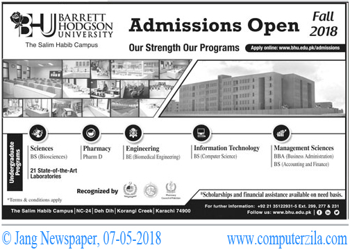 Barrett Hodgson University Admissions Fall 2018