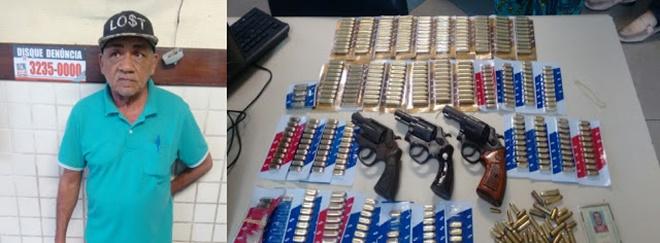 Idoso é preso ao negociar armas e munição