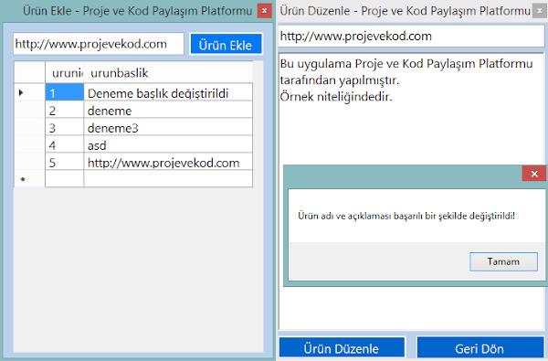 C# Basit Access Ürün Ekleme Ve Düzenleme
