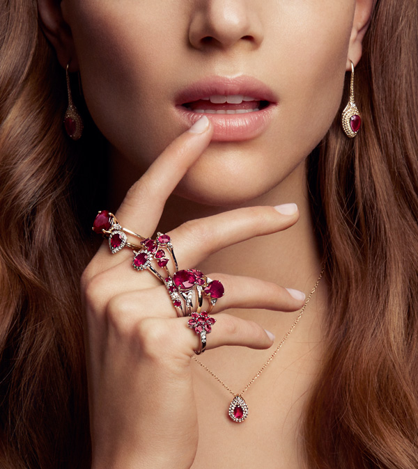 The colours of rubies vary from deep pink to red and they look stunning in groups, as shown in this image from Gemporia