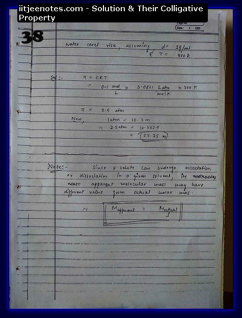 Solution and Their Colligative Property Notes IITJEE6