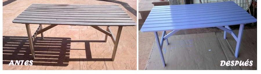 Antes y depués de reciclar y redecorar una mesa de jardín