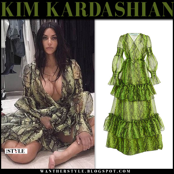 Kim Kardashian in green snake print plunging dress from off-white celebrity fashion november 28