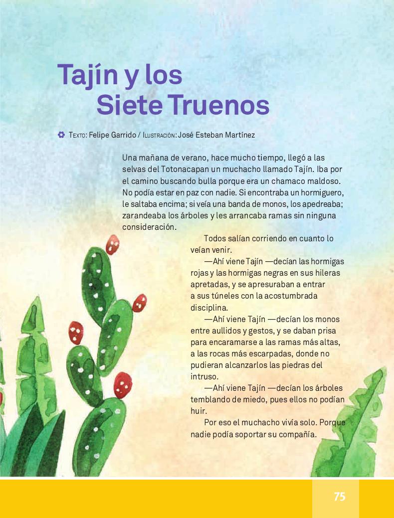 Taj n y los siete truenos espa ol lecturas 4to apoyo for Espanol lecturas cuarto grado 1993