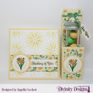 Divinity Designs Stamp Set: Test Tube Treat Stamps, Treat Tag Sentiments 3, Custom Dies: Test Tube Treats, Scalloped Circles, Circles, Scalloped Squares, Squares, Paper Collection:  Spring Flowers 2019, Mixed Media Stencil: Flower Burst, Small Test Tubes