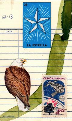nietzsche zarathustra bald eagle loteria mexican lottery card star la estrella Czechoslovakia space station exploration library due date card Dada Fluxus mail art collage