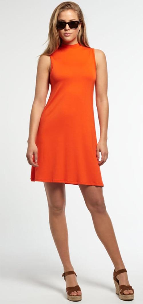 Robe courte d'été sans manches orange Superdry