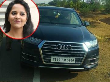 telugu Anchor Anasuya Car accident Images Videos