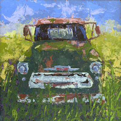art painting truck palette knife Chevy vintage abandoned