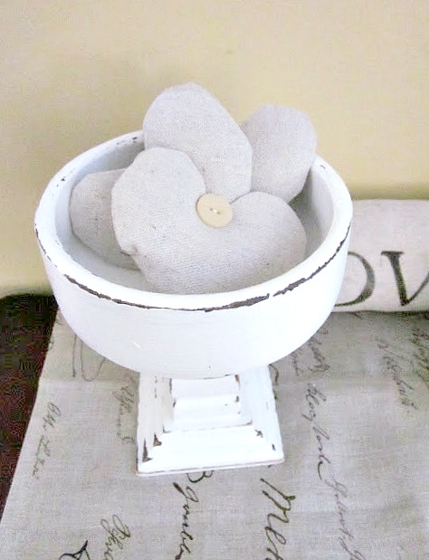 pedestal dish with lavender heart sachets