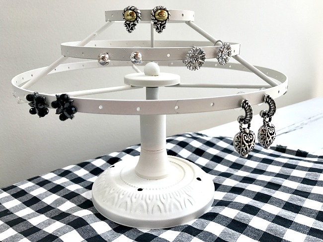 Earring jewelry display from lamp parts