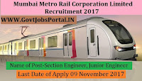 Mumbai Metro Rail Corporation Limited Recruitment 2017– 115 Section Engineer, Junior Engineer