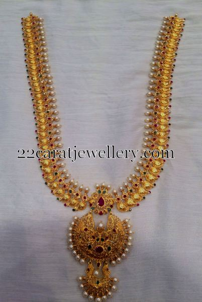 Mango Long Chain With Pearls Jewellery Designs