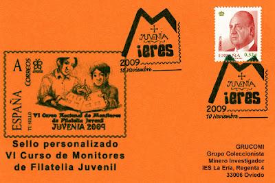 Tarjeta del matasellos general de la exposición JUVENIA 2009 de Mieres