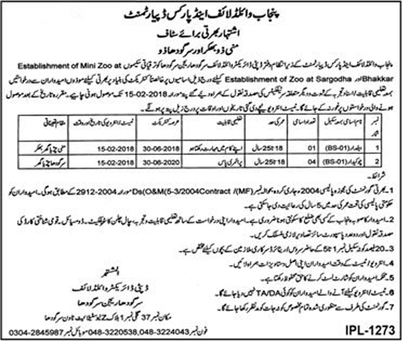 Jobs In Punjab Wildlife And Parks Department Sargodha January 2018