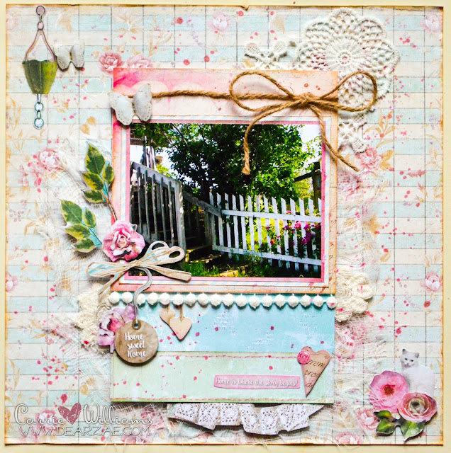 Shabby Chic Scrapbook Layout featuring die cuts and lace