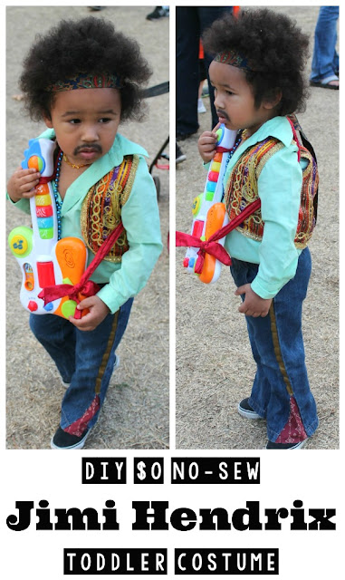 Quirky Bohemian Mama - A Bohemian Mom Blog: DIY $0 no-sew Jimi Hendrix Toddler Costume {Toddler Halloween Costume} #halloween #halloweencostume #toddlercostume #jimihendrix