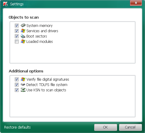 Configuración TDSSKiller