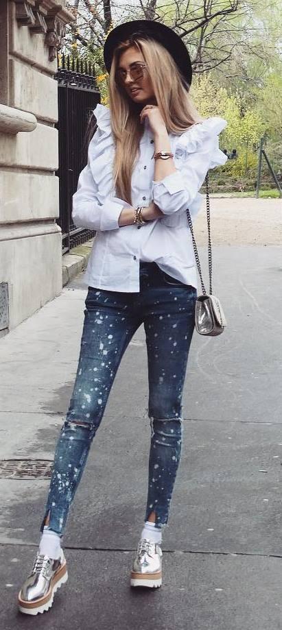 street style addict: hat + bag + shirt + skinnies