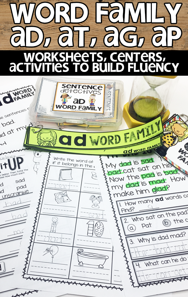 A great elementary resource to help your students practice word families.  There are center games, flashcards, fluency sentences, and worksheets.