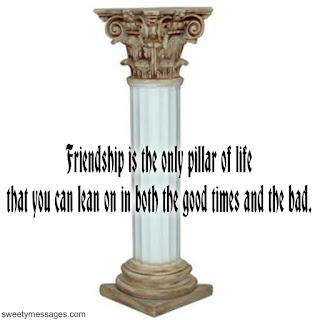 Friendship is the only pillar of life that you can lean on in both the good times and the bad.