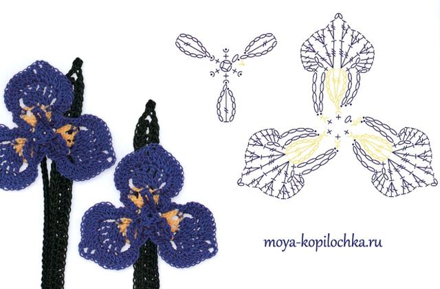 ergahandmade 100 crochet flowers diagrams ( part 2 ) Iris Flower Template Printable via crocket moya kopilochka ru vyazanyie tsvetyi 100 tsvetochnyih motivov dlya