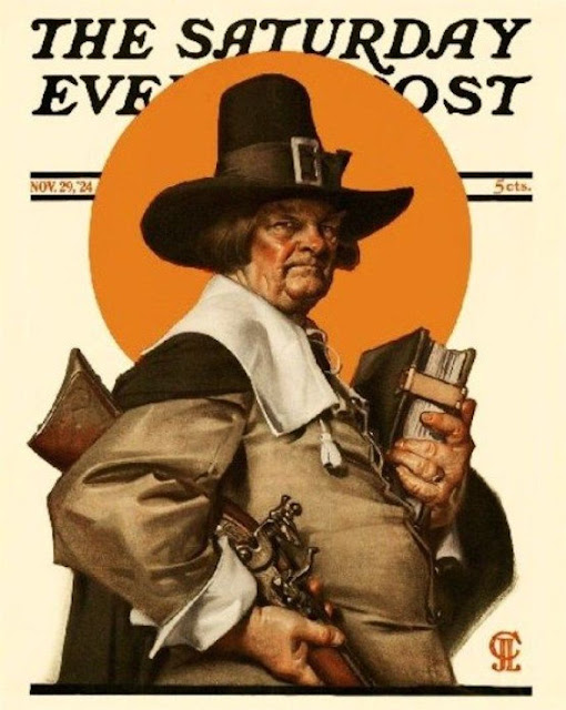 J.C. Leyendecker illustration the Saturday Evening Post Nov 1924 A grumpy Pilgrim with flintlock and bible. A Traditional Thanksgiving and Other stories of Giving Thanks. marchmatron.com