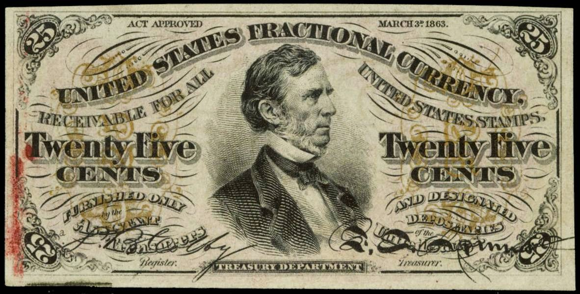 Fractional Currency 25 Cents note 1863 Fessenden
