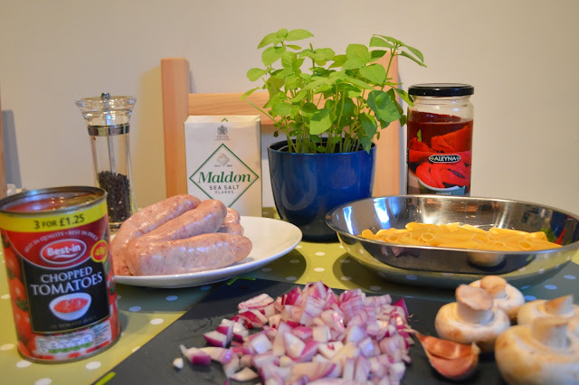 Ingredients for sausage and mushroom penne