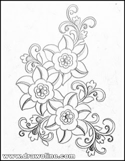 Top 5 patterns for hand emroidery saree design drawing on tracing paper. How to draw saree butta design Drawings process.