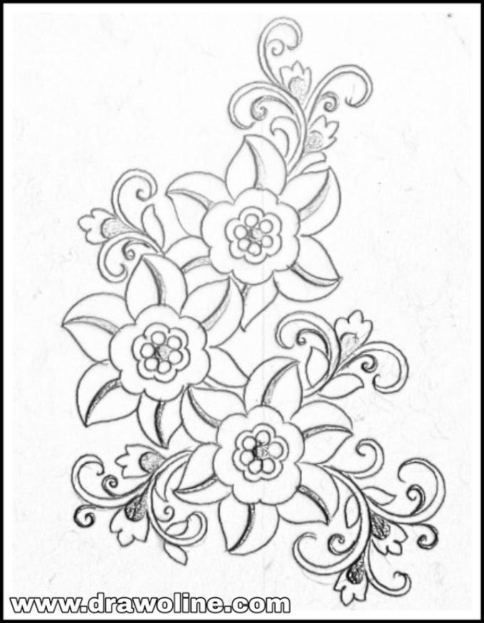 FLower design drawing for hand and saree design/flower design patterns pencil sketch.