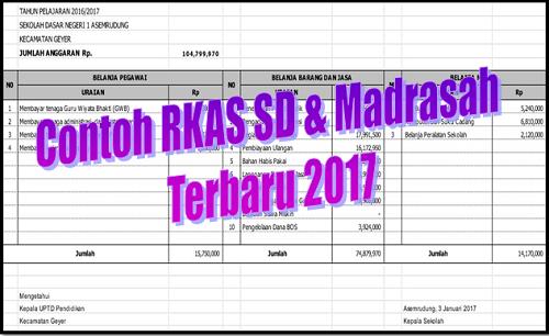 Contoh RKAS SD dan Madrasah Terbaru 2017