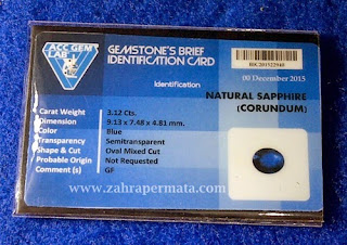 Batu Permata Royal Blue Saphire + Memo - ZP 399