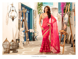 Kajal Aggarwal models for Saree for Jayachandran Textiles Stunning Beauty