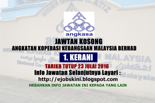 Jawatan Kosong Angkatan Koperasi Kebangsaan Malaysia Berhad (ANGKASA)