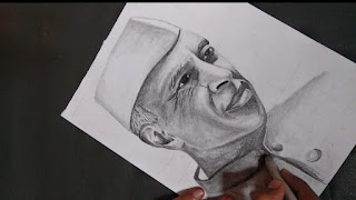 Step by step drawing sketch of Jawaherlal Nehru