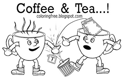 Kids beverage colour online free tea and coffee colouring pages chocolate hot drink making pictures