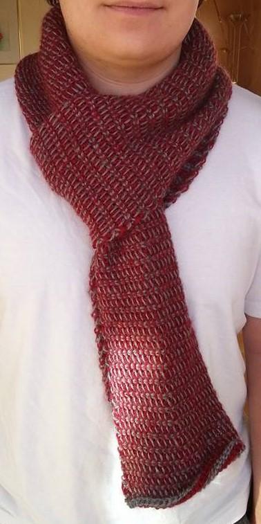 Häkelfieber: grau-roter Schal im \'Tunesischen Tweed-Grundstich\'