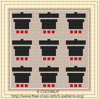Pot, Pattern for Coasters, Free and easy printable cross stitch pattern