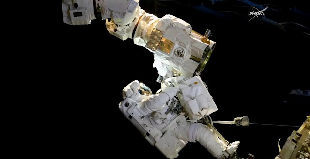 NASA astronaut Joe Acaba working on the robotic Canadarm2 on October 20, 2017. Photo Credit: NASA TV