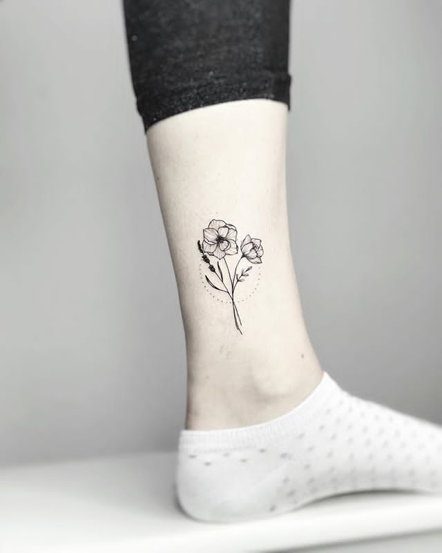 black Lavender flower Tattoo on Ankle