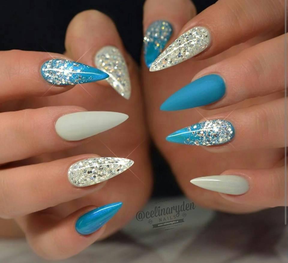 Light Blue Acrylic Nails With Diamonds