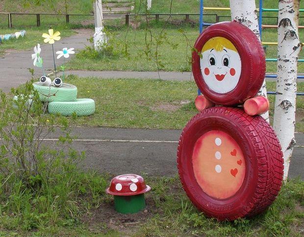 Decoração com pneu velho