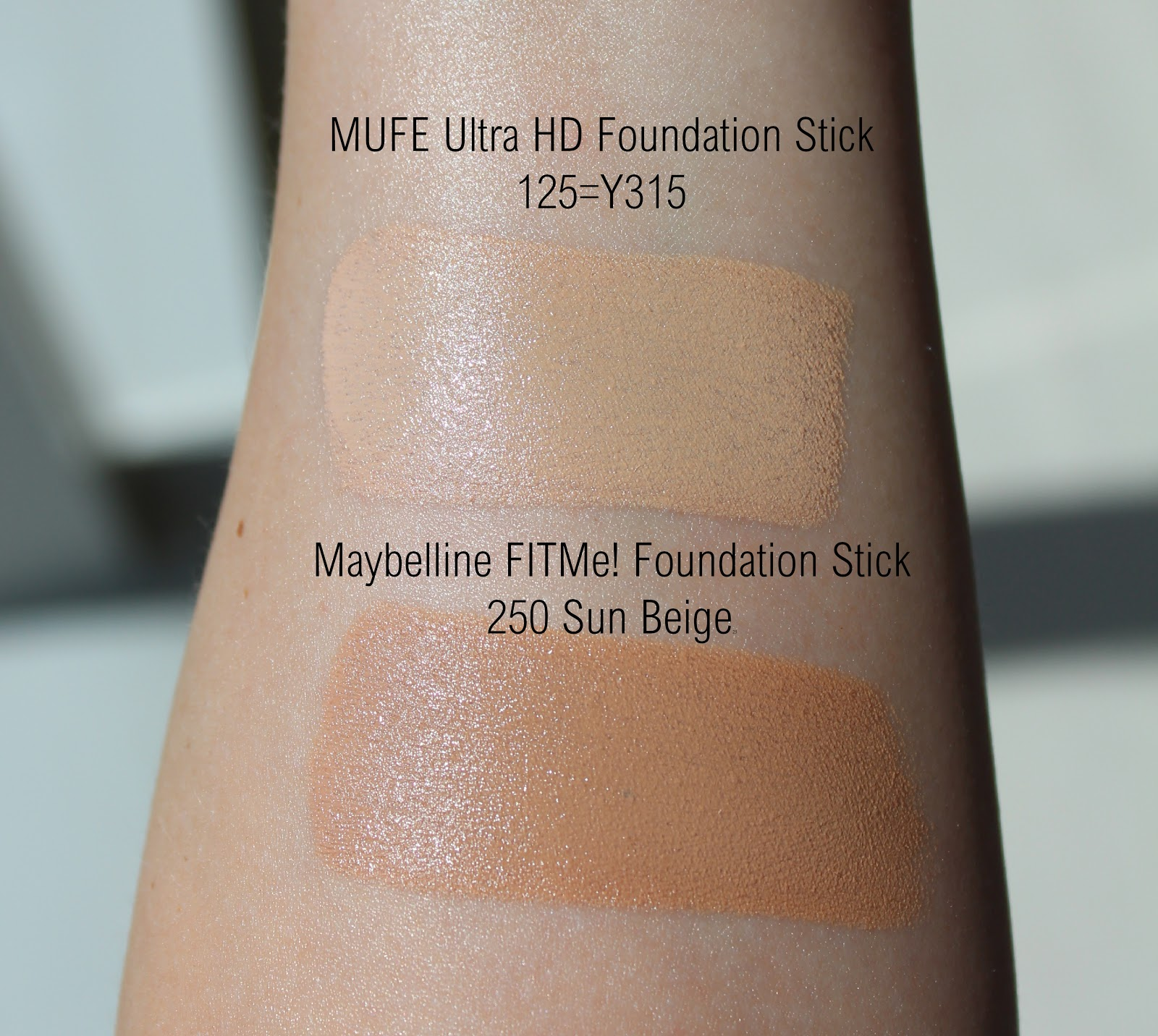 Make Up Forever HD Foundation Stick Review and Swatches, Maybelline Fit Me Foundation Stick Review and Swatches, MUFE HD Foundation Dupe