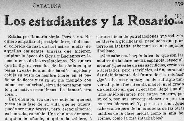 Fragmento del artículo publicado en el semanario Cataluña