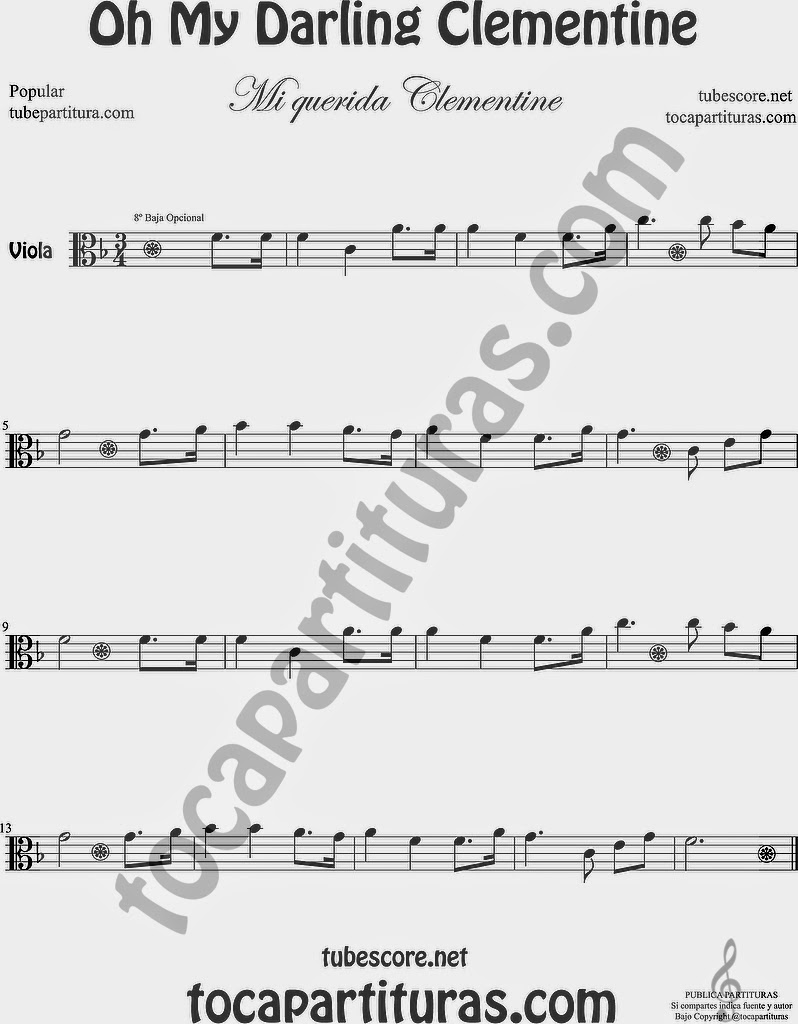Mi Querida Clementin Partitura de Viola Sheet Music for Viola Music Score Oh My Darling Clementine Popular